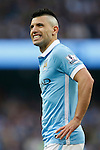 Sergio Aguero of Manchester City dejected during the Barclays Premier League match at the Etihad Stadium. Photo credit should read: Philip Oldham/Sportimage
