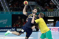 Spain's Joan Canellas (l) and Australia's Tommy Fletcher during 23rd Men's Handball World Championship preliminary round match.January 15,2013. (ALTERPHOTOS/Acero) /NortePhoto