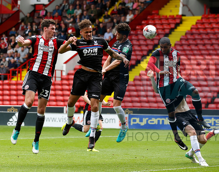 Ben Heneghan of Sheffield Utd gets an early header just wide of the goal during the Professional Development U23 match at Bramall Lane, Sheffield. Picture date 4th September 2017. Picture credit should read: John Taff/Sportimage