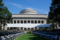Empty seats wait for graduating students under the MIT Dome in Killian Court before the 2012 MIT Commencement on June 8, 2012, in Cambridge, Massachusetts, USA...Photo by M. Scott Brauer
