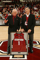 24 February 2008: Bob Murphy (left) and Bob Bowlsby (right) during Stanford's 79-69 win against the California Golden Bears at Maples Pavilion in Stanford, CA.