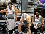 SIOUX FALLS, SD - MARCH 12:  Players from IU East react as the final horn sounds in their 75-72 loss to Indiana Wesleyan of their semifinal game at the 2018 NAIA DII Men's Basketball Championship at the Sanford Pentagon in Sioux Falls. (Photo by Dave Eggen/Inertia)