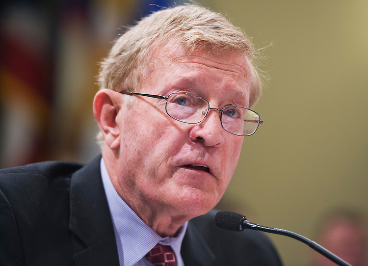 """UNITED STATES - APRIL 26: Rep. Paul Cook, R-Calif., testifies at a Public Lands and Environmental Regulation Subcommittee hearing in Longworth after testifying on the """"Johnson Valley National Off-Highway Vehicle Recreation Area Establishment Act."""" (Photo By Tom Williams/CQ Roll Call)"""