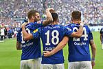 31.08.2019, VELTINS-Arena, Gelsenkirchen, GER, DFL, 1. BL, FC Schalke 04 vs Hertha BSC, DFL regulations prohibit any use of photographs as image sequences and/or quasi-video<br /> <br /> im Bild Guido Burgstaller (#19, FC Schalke 04) jubelt nach seinem Tor zum 2:0 mit  Daniel Caligiuri (#18, FC Schalke 04) Bastian Oczipka (#24, FC Schalke 04) <br /> <br /> Foto © nordphoto/Mauelshagen