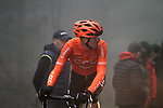Alessandro De Marchi (ITA) CCC Team from the breakaway in the dark fog on the category 3 climb over Zaratoma during another wet Stage 4 of the Tour of the Basque Country 2019 running 163.6km from Vitoria-Gasteiz to Arrigorriaga, Spain. 11th April 2019.<br /> Picture: Colin Flockton | Cyclefile<br /> <br /> <br /> All photos usage must carry mandatory copyright credit (&copy; Cyclefile | Colin Flockton)