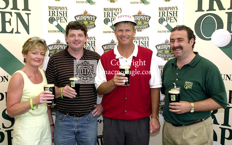 Golfer Sandy Lyle, second from right,  at the Murphys Irish Open in Ballybunion with Deirdre O' Connor and Tadgh O' Connor, O' Connors Pub Killarney  and Kieran O' Sullivan , Regional Manager, Murphy Brewery..Pic: MacMonagle, Killarney..issued with COMPLIMENTS of Murphy Brewery