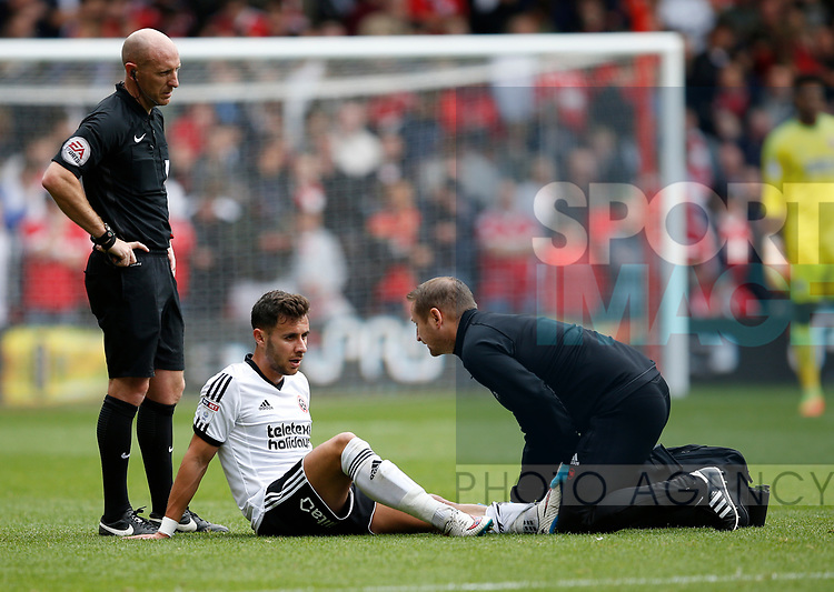 George Baldock of Sheffield Utd injured during the Championship match at the City Ground Stadium, Nottingham. Picture date 30th September 2017. Picture credit should read: Simon Bellis/Sportimage