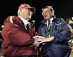 Florida State head coach Bobby Bowden (L)) and Penn State head coach Joe Paterno meet at mid-fileld prior to the 72nd FedEx Orange Bowl January 3, 2006 at Dolphin Stadium in Miami, Florida.    (Mark Wallheiser/TallahasseeStock.com)