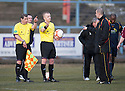 Albion manager Todd Lumsden has a word with the officials at the end of the game.
