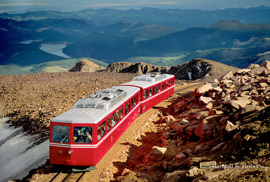 PIke's Peak Cog Railway reaches the summit of Pike's Peak, near Colorado Springs, Colorado