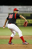 Batavia Muckdogs pitcher Manuel De La Cruz #28 during the second game of a doubleheader against the Mahoning Valley Scrappers at Dwyer Stadium on August 22, 2011 in Batavia, New York.  Mahoning Valley defeated Batavia 11-3.  (Mike Janes/Four Seam Images)