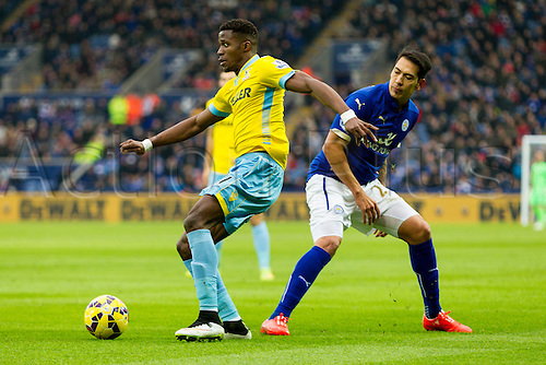 07.02.2015.  Leicester, England. Barclays Premier League. Leicester City versus Crystal Palace. Wilfried Zaha (Crystal Palace) beats Leonard Ulloa (Leicester City).
