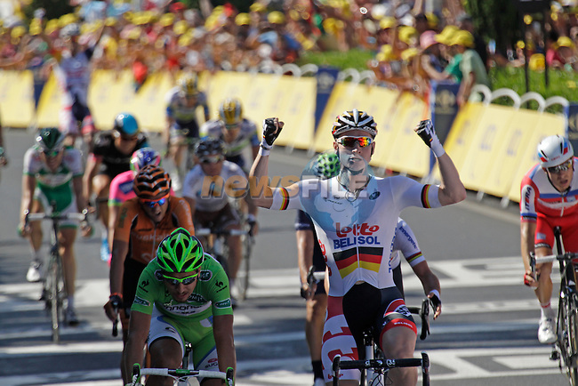 Andre Greipel (GER) Lotto-Belisol outsprints Peter Sagan (SVK) Cannondale, Marcel Kittel (GER) Team Argos-Shimano and Mark Cavendish (GBR) Omega Pharma-Quick Step to win Stage 6 of the 100th Edition of the Tour de France 2013 from Aix-En-Provence to Montpellier 4th July 2013.<br /> (Photo: Eoin Clarke/ www.newsfile.ie)