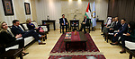 Palestinian Prime Minister Mohammad Ishtayeh meets with members of a delegation from the US Senate, at his headquarter in the West Bank city of Ramallah, April 24, 2019. Photo by Prime Minister Office