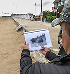VMI Vincentian Heritage Tour: Normandy France side trip - Old photos illustrating the existing berm near the Juno Beach landing zone in Normandy, France.(DePaul University/Jamie Moncrief)