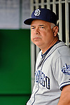 15 May 2012: San Diego Padres bench coach Rick Renteria watches from the dugout prior to a game against the Washington Nationals at Nationals Park in Washington, DC. The Padres defeated the Nationals 6-1 to split their 2-game series. Mandatory Credit: Ed Wolfstein Photo