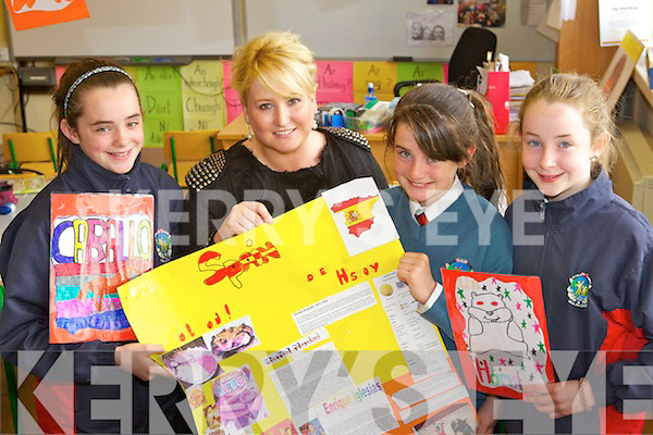 Students from Scoil Eoin celebrate winning Spainish School of the year in Ireland from left Saidvh Pope, Veronica Donovan, (Teacher)  Leanne O'Brien and Ciara O'Connor.