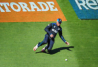 Martin Guptill fields during the ICC Cricket World Cup one day pool match between the New Zealand Black Caps and England at Wellington Regional Stadium, Wellington, New Zealand on Friday, 20 February 2015. Photo: Dave Lintott / lintottphoto.co.nz