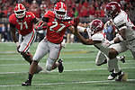 ATLANTA, GA - JANUARY 08: Nick Chubb #27 of the Georgia Bulldogs rushes against the Alabama Crimson Tide during the College Football Playoff National Championship held at Mercedes-Benz Stadium on January 8, 2018 in Atlanta, Georgia. Alabama defeated Georgia 26-23 for the national title. (Photo by Jamie Schwaberow/Getty Images)
