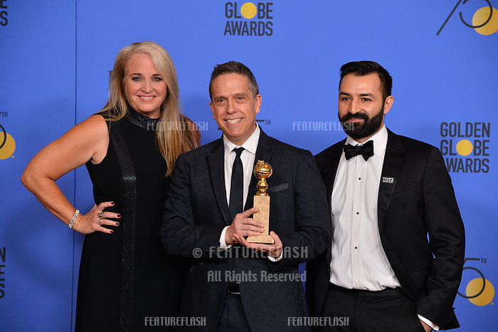 Darla K. Anderson, Lee Unkrich &amp; Adrian Molina at the 75th Annual Golden Globe Awards at the Beverly Hilton Hotel, Beverly Hills, USA 07 Jan. 2018<br /> Picture: Paul Smith/Featureflash/SilverHub 0208 004 5359 sales@silverhubmedia.com