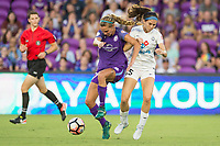 Orlando, FL - Saturday July 15, 2017: Dani Weatherholt, Erika Tymrak during a regular season National Women's Soccer League (NWSL) match between the Orlando Pride and FC Kansas City at Orlando City Stadium.
