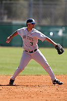 February 28, 2010:  Shortstop Luis Montesinos (3) of the Penn State Nittany Lions during the Big East/Big 10 Challenge at Raymond Naimoli Complex in St. Petersburg, FL.  Photo By Mike Janes/Four Seam Images