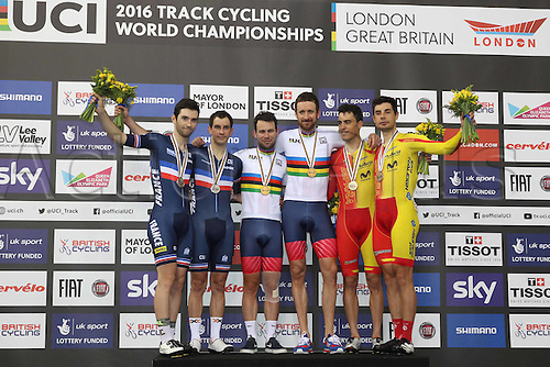 06.03.2016. Lee Valley Velo Centre, London England. UCI Track Cycling World Championships Mens Madison.  Podium pictures of teams show Team France  KNEISKY Morgan THOMAS Benjamin<br /> Team Great Britain WIGGINS Bradley and CAVENDISH Mark<br /> and team Spain MORA VEDRI Sebastian TORRES BARCELO Albert