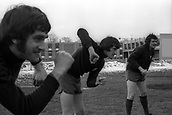 23.03.1971  Larry Lloyd and goalie Tommy Lawrence (Liverpool) during training for the 1970/1971 Europacup