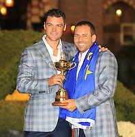 Martin Kaymer and Sergio Garcia with the Ryder Cup at the end of Sunday's singles matches at the Ryder Cup 2012, Medinah Country Club,Medinah, Illinois,USA 30/09/2012.Picture: Fran Caffrey/www.golffile.ie.