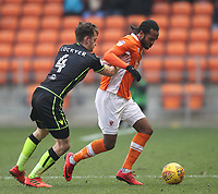 Blackpool's Nathan Delfouneso in action with Bristol Rovers' Tom Lockyer<br /> <br /> Photographer Mick Walker/CameraSport<br /> <br /> The EFL Sky Bet League One - Blackpool v Bristol Rovers - Saturday 13th January 2018 - Bloomfield Road - Blackpool<br /> <br /> World Copyright &copy; 2018 CameraSport. All rights reserved. 43 Linden Ave. Countesthorpe. Leicester. England. LE8 5PG - Tel: +44 (0) 116 277 4147 - admin@camerasport.com - www.camerasport.com