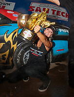 Oct 7, 2018; Ennis, TX, USA; NHRA factory stock driver Leah Pritchett celebrates after winning the Fall Nationals and clinching the 2018 championship at the Texas Motorplex. Mandatory Credit: Mark J. Rebilas-USA TODAY Sports