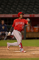 Los Angeles Angels first baseman Jose Miguel Fernandez (9) during a Minor League Spring Training game against the Milwaukee Brewers at Tempe Diablo Stadium on March 29, 2018 in Tempe, Arizona. (Zachary Lucy/Four Seam Images)
