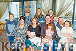 Aisling&Donal Coppinger from Doon, Tralee, seated centre, Christened baby Tadhg last Saturday afternoon in St Brendans church,Curraheen, with Fr Francis Nolan, and celebrated after in the Ballyroe heights hotel, Tralee.