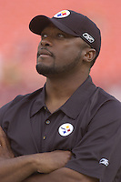 18 August 2007:.Steelers Head Coach Mike Tomlin.  The Pittsburgh Steelers defeated the Washington Redskins 12-10 in their preseason game at FedEx Field in Landover, MD.