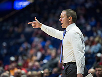 NWA Democrat-Gazette/BEN GOFF @NWABENGOFF<br /> Mike White, Florida head coach, in the first half vs Arkansas Thursday, March 14, 2019, during the second round game in the SEC Tournament at Bridgestone Arena in Nashville.