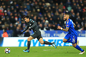 18th March 2018, King Power Stadium, Leicester, England; FA Cup football, quarter final, Leicester City versus Chelsea; Pedro of Chelsea takes on Danny Simpson of Leicester City