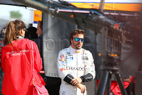 May 3rd 2017. Indianapolis Speedway, Indiana, USA; Practise sessions for th eupcoming Indianapolis 500 race; Fernando Alonso, F1 driver, practises for his first ever Indy Car race in his Honda Andretti auto