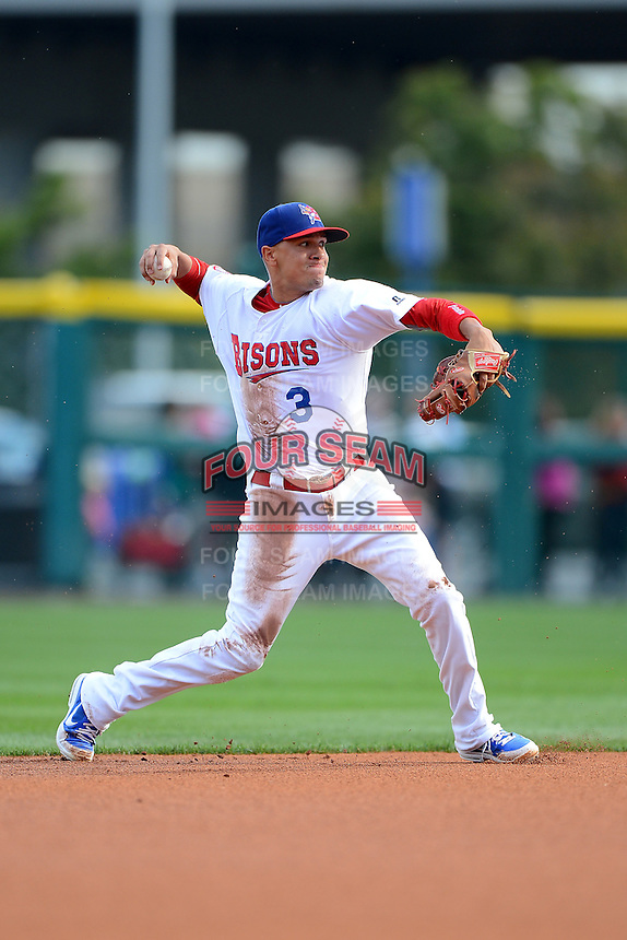 Buffalo Bisons shortstop Ryan Goins (3) during a game against the Pawtucket Red Sox on August 4, 2013 at Coca-Cola Field in Buffalo, New York.  Pawtucket defeated Buffalo 8-1.  (Mike Janes/Four Seam Images)