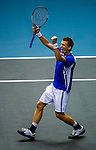 Jarkko Nieminen of Finland celebrates a point during the Day 8 of the PTT Thailand Open at Impact Arena on October 2, 2010 in Bangkok, Thailand. Photo by Victor Fraile / The Power of Sport Images