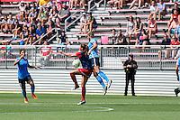 Boyds, MD - Sunday July 31, 2016: Katie Stengel, Kristin Grubka during a regular season National Women's Soccer League (NWSL) match between the Washington Spirit and Sky Blue FC at Maureen Hendricks Field, Maryland SoccerPlex. The Washington Spirit defeated Sky Blue FC 3-1.