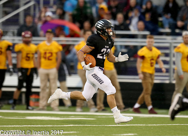 SIOUX FALLS, SD - SEPTEMBER 8: Max Mickey #22 from the University of Sioux Falls breaks loose for an 87 yard touchdown against Northern State in the first half of their game Saturday night at Bob Young Field in Sioux Falls. (Photo by Dave Eggen/Inertia)