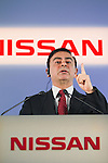 May 12th, 2011, Yokohama, Japan - Carlos Ghosn, Chairman and CEO of Nissan Motor Co., Ltd. speaks during a press conference announcing the 2010 corporate financial results at the company's headquarters in Yokohama, near Tokyo, Japan. Nissan reported a 16.7 percent increase to 8.773 trillion yen in net profit for the 210 fiscal year. Operating profit totaled 537.5 billion yen, compared to 311.6 billion yen in 2009 and net income reached 319.2 billion yen compared to 42.4 billion yen in the same prior year. Nissan will continue their commitment to produce 1 million cars in Japan despite the Tohoku disaster which has affected a large number of global manufacturing and export base companies. (Photo by Casey Jihara/AFLO)