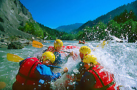 "Whitewater rafting the Ruinaulta (Rhine Gorge) (known as the ""Little Swiss Grand Canyon"") Flims Laax Falera area, Switzerland"