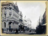 BNPS.co.uk (01202 558833)<br /> Pic: Nosb&uuml;sch&amp;Stucke/BNPS<br /> <br /> The corner of Pitt Street and King Street in Sydney.<br /> <br /> A stunning collection of photographs of Sydney decades before the iconic harbour bridge and opera house were built has been unearthed after 129 years.<br /> <br /> The black and white photo album captures the bustling city centre, picturesque main harbour and famous beaches of the future tourist hot-spot. <br /> <br /> The photos were taken by celebrated Australian photographer Henry King in 1888 who was born in England but emigrated to Australia at a young age and spent the rest of his life there.<br /> <br /> More recently they have fallen into the hands of a German collector who has decided to put them on the market and they are tipped to sell for &pound;1,800.<br /> <br /> Many of Sydney's most recognisable landmarks including Manly beach and Coogee bay look very different to what backpackers would encounter today.<br /> <br /> King also took various photos of Circular Quay - the city's main harbour - but missing from them are images of the Sydney Harbour Bridge and Sydney Opera House as these landmarks were both not built until well into the 20th century.