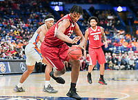 NWA Democrat-Gazette/CHARLIE KAIJO Arkansas Razorbacks forward Gabe Osabuohien (22) reaches for a loose ball during the Southeastern Conference Men's Basketball Tournament quarterfinals, Friday, March 9, 2018 at Scottrade Center in St. Louis, Mo.