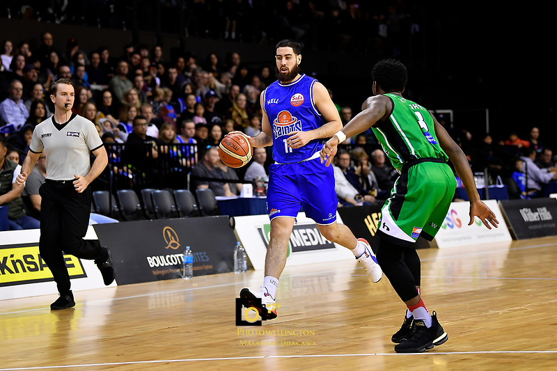 Saints' Jordan Ngatai in action during the NBL - Cigna Saints v Manawatu Jets at TSB Bank Arena, Wellington, New Zealand on Sunday 30 June 2019. <br /> Photo by Masanori Udagawa. <br /> www.photowellington.photoshelter.com