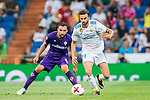 Borja Mayoral Moya (r) of Real Madrid fights for the ball with Milan Badelj of ACF Fiorentina during the Santiago Bernabeu Trophy 2017 match between Real Madrid and ACF Fiorentina at the Santiago Bernabeu Stadium on 23 August 2017 in Madrid, Spain. Photo by Diego Gonzalez / Power Sport Images