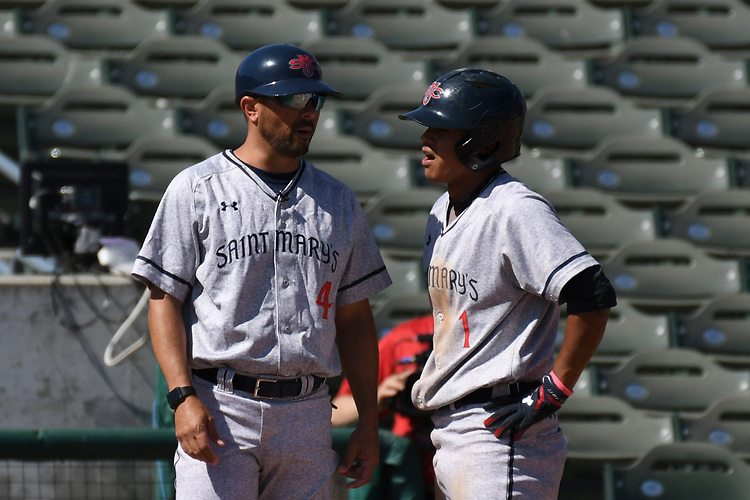May 25, 2017; Stockton, CA, USA; Saint Mary's Gaels third base coach Matt Fonteno during the WCC Baseball Championship at Banner Island Ballpark.