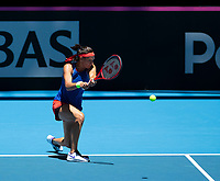 8th November 2019; RAC Arena, Perth, Western Australia, Australia; Fed Cup by BNP Paribas Final Tennis, Australia versus France, Practice Day; Caroline Garcia of France plays a backhand shot during practise - Editorial Use