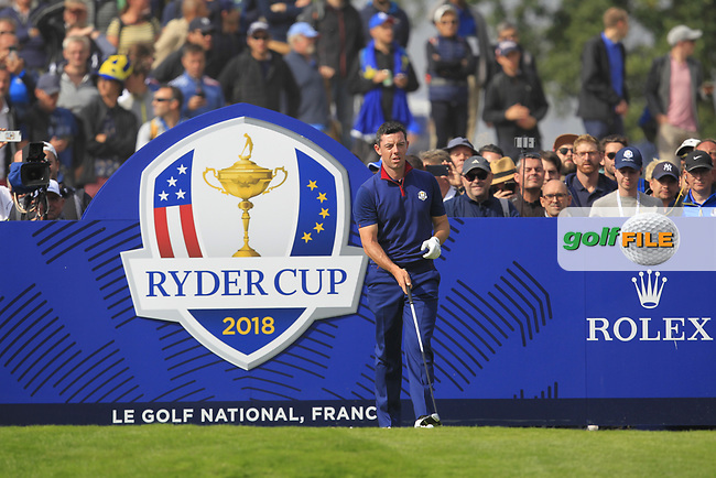 Rory McIlroy (Team Europe) on the 4th tee during the Friday Foursomes at the Ryder Cup, Le Golf National, Ile-de-France, France. 28/09/2018.<br /> Picture Thos Caffrey / Golffile.ie<br /> <br /> All photo usage must carry mandatory copyright credit (© Golffile | Thos Caffrey)